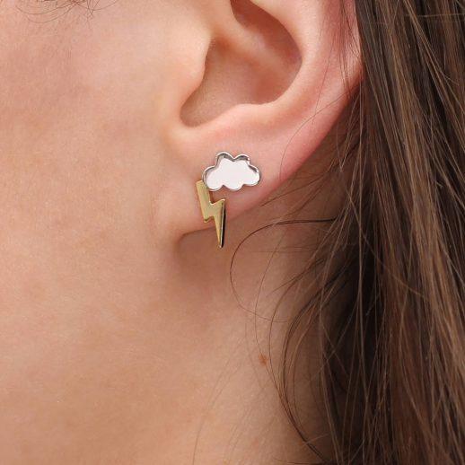 cloud and lightening bolt earrings