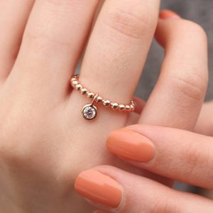 Rose Gold Hanging Charm Ring