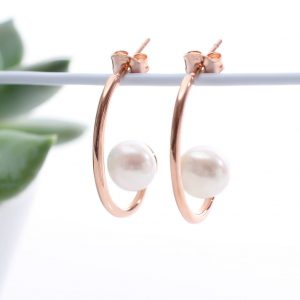 Rose gold Pearl Hoop Earrings