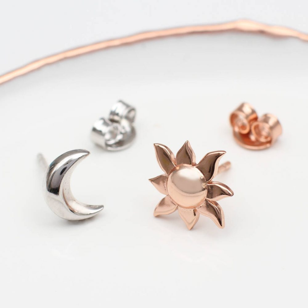 b341db1a7 Sterling Silver And Gold Sun And Moon Earrings | Hurleyburley