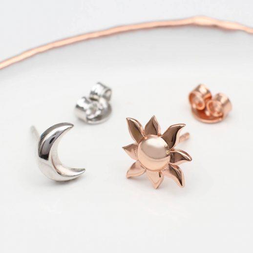 Sun and Moon stud Earrings