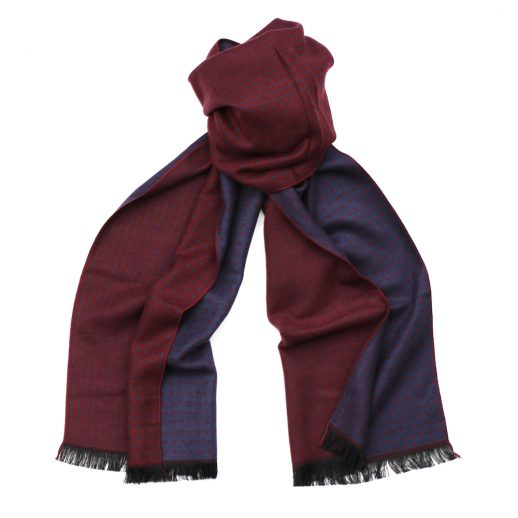 BurgendyBlueStripeSpotScarf