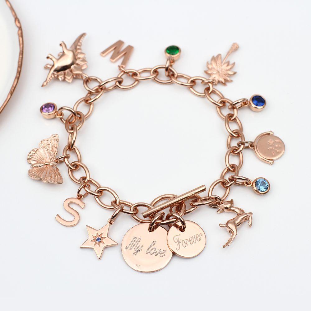6b8d4ec2490b3 Create A Personalised 18ct Rose Gold Vermeil Charm Bracelet ...
