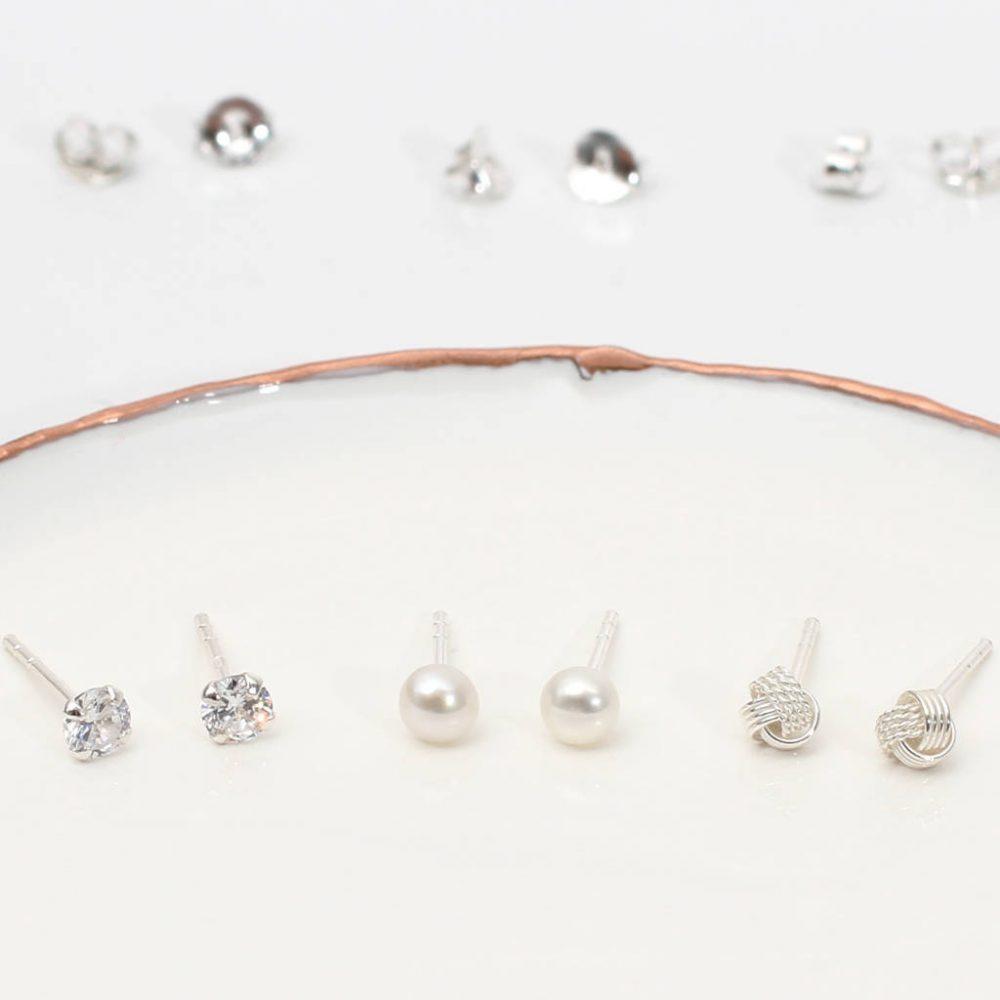 aff22512bb3ecf Set Of Three Sterling Silver Stud Earrings | Hurleyburley