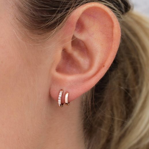 Sterling silver double hoop stud earrings