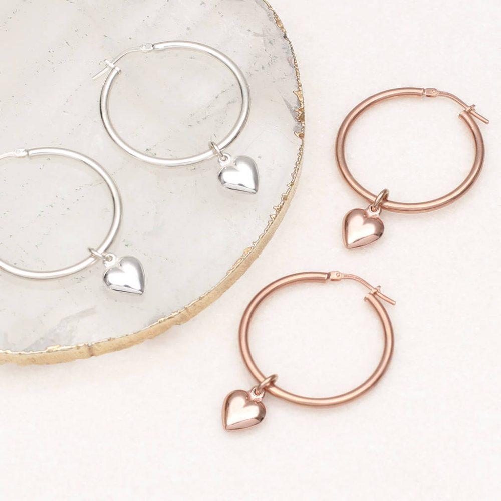0512e83635560 18ct Gold Vermeil Or Silver Heart Charm Hoop Earrings | Hurleyburley