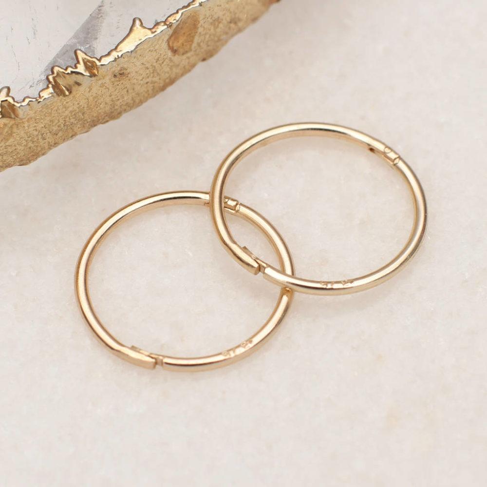 2d29796c49eca 9ct Gold Sleeper Hoop Earrings | Hurleyburley