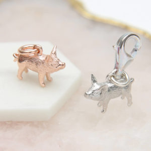 68ded1acf Sterling Silver Or 18ct Rose Gold Clip On Piglet Charm £19