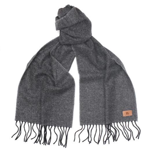 MensHerringboneGreyBlackScarf