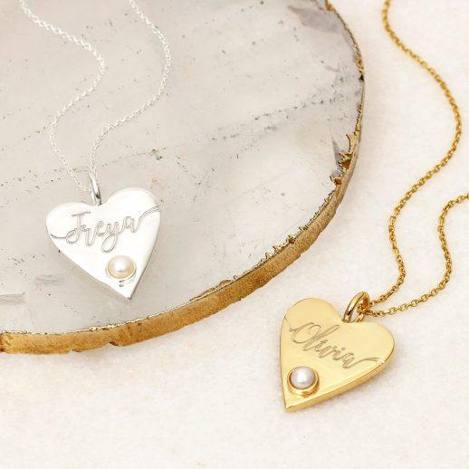 HeartPearlNameNecklaces